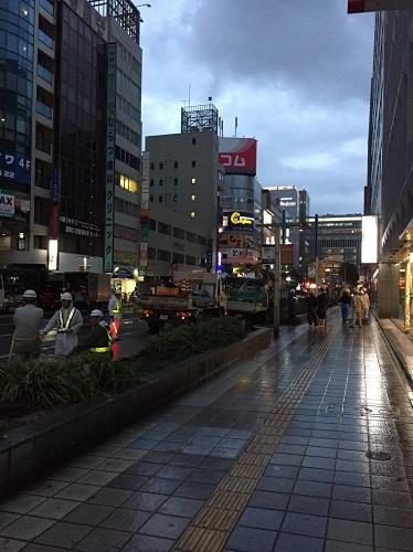 博多駅前通りの大陥没一日も早い復旧を